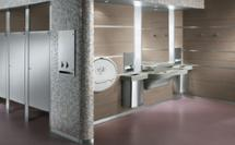MG2 lavatory system application image with toilet partitions