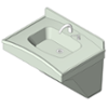 BIM model of a 1-station Frequency lavatory system made of Terreon solid surface, upswing configuration  - Model FL-1H