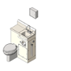 BIM model of an epoxy coated patient care combination sink and toilet left configuration wall mount - Model LC500-L-Wall