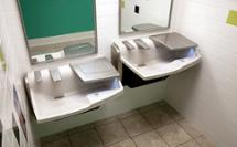 2 station 3-in-1 Advocate AV-series sink with co-located soap water and hand drying