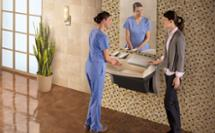 3-in-1 sink, soap, and hand dryer Advocate-AV series lavatory system shown in a healthcare setting