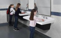 girls washing their hands at 2 station lavatory system for school markets - ELX-Series Express Lavatory System - Model ELX-2